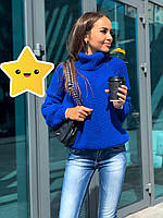 "Объемный свитер ""Арчи"" р. 42-48 электрик, фото 1"