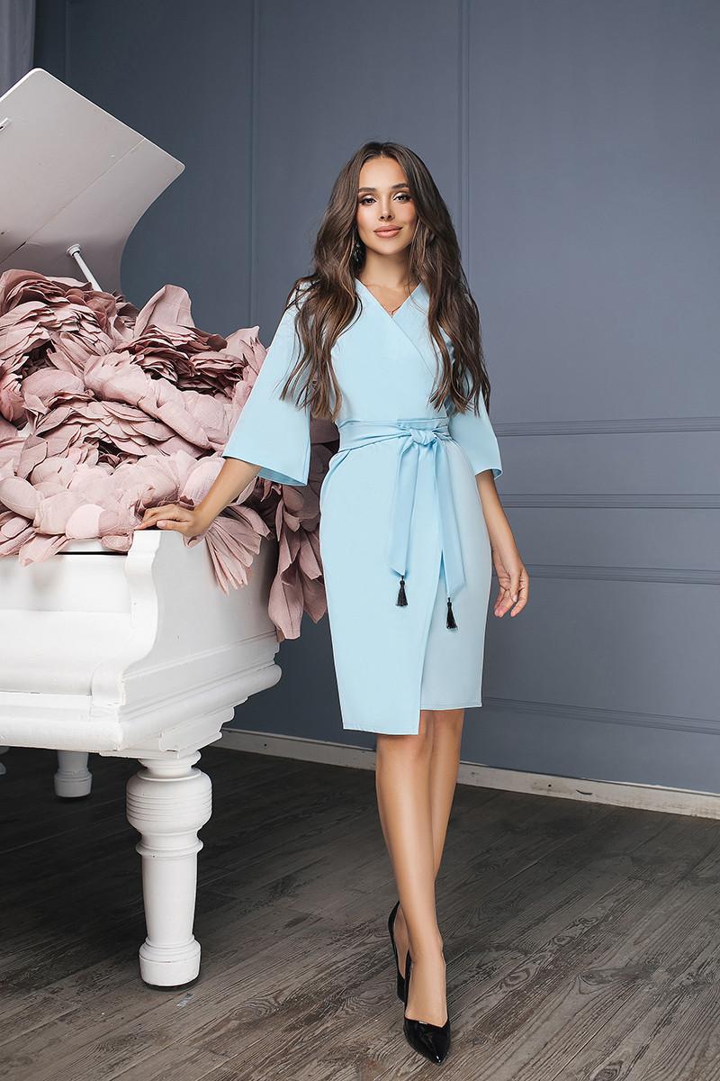 Женское платье с кисточкойГолубой