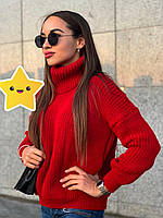 """Объемный свитер """"Арчи"""" р. 42-48 вишневый, фото 1"""