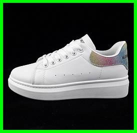Жіночі Кросівки Сліпони Білі Мокасини Alexander McQueen (розміри: 38)