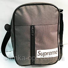 Спортивные барсетки Supreme текстиль (серый)20*27см
