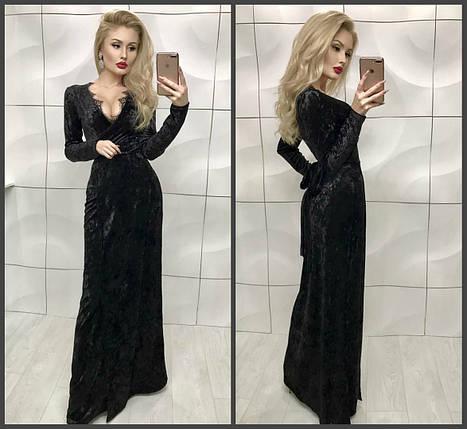 Черное бархатное платье в пол, фото 2