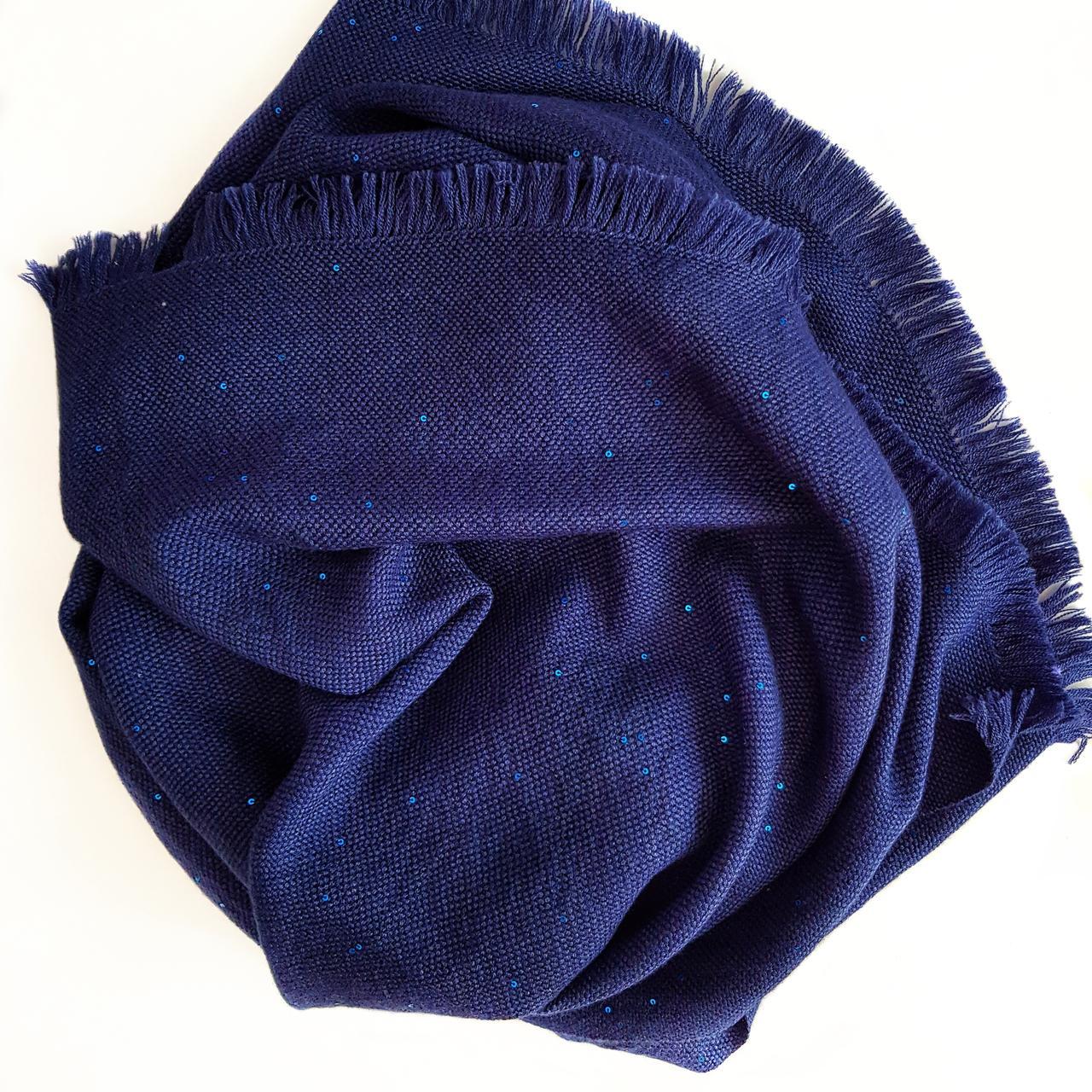 Кашемировый шарф Chadrin с шелком синий с микро пайетками