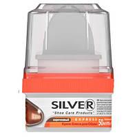 Крем-блеск для обуви SILVER с губкой для гладкой кожи, коричневый 50мл