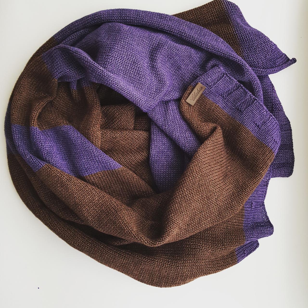 Кашеміровий шарф  Chadrin з шовком коричнево/фіолетовий чоловічий