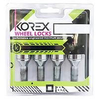 Комплект болтов (секретки) Korex Конус (M14x1.5x28) Вращающееся кольцо/Цинк