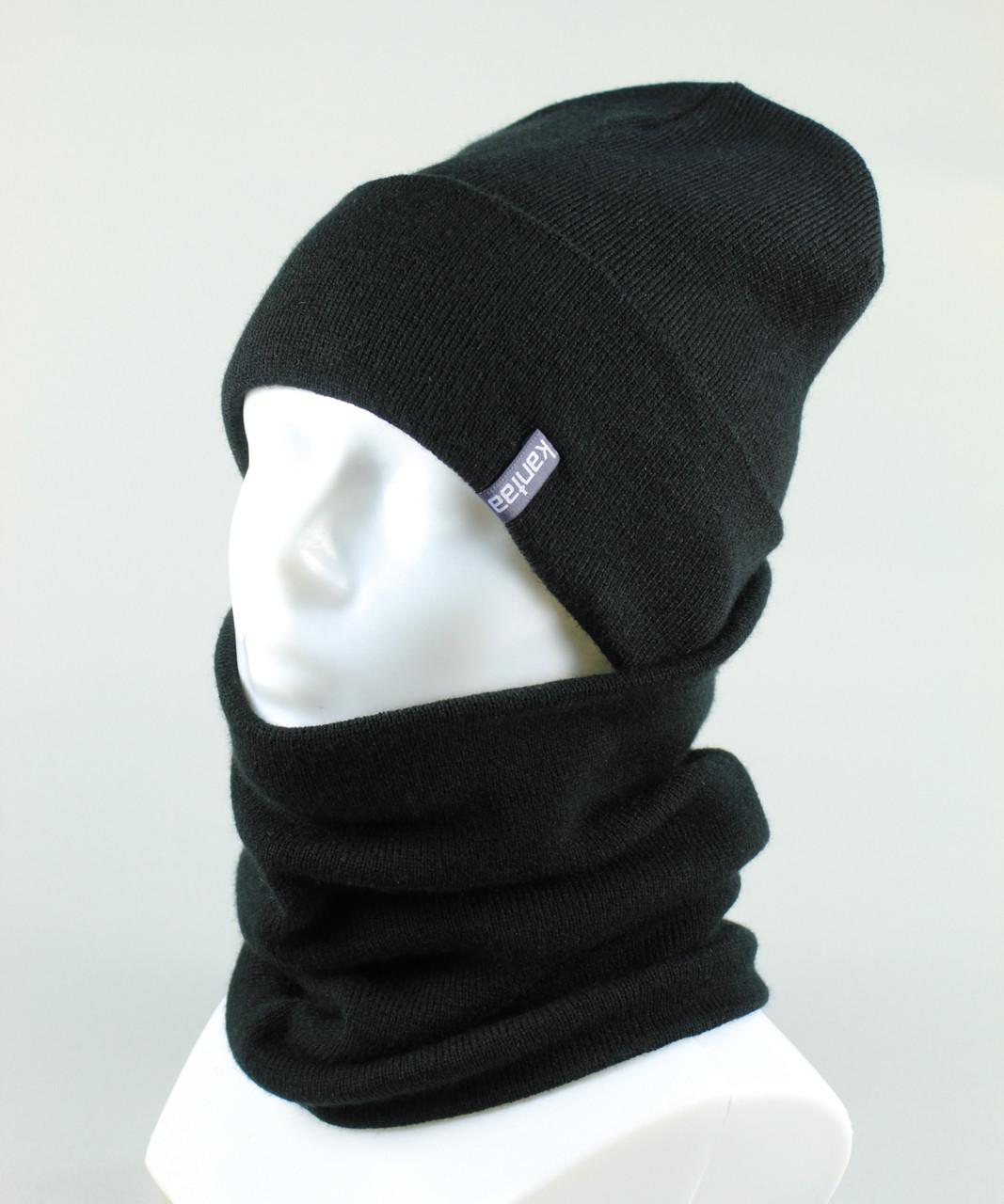 Набор подростковый шапка бафф KANTAA черный