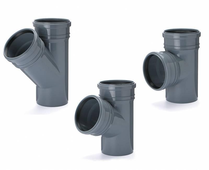 Тройник для внутренней канализации Инсталпласт 50/50/45 (серый)