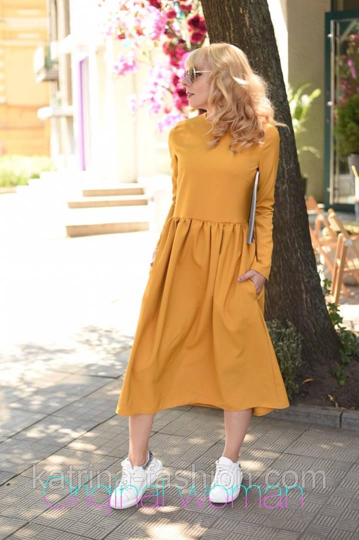 Женское платье-миди (в расцветках)