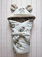 """Демисезонный конверт-одеяло на выписку для мальчика """"It's a boy"""" серый"""