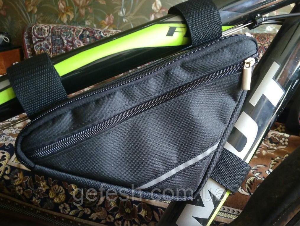 Вело сумка на два отделения подрамная треугольная велосипедная сумка для велосипеда, велосумка велобардачок