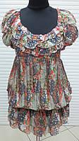 Туника платье женское летнее цветное, туника шифоновая молодежная удлиненная, фото 1