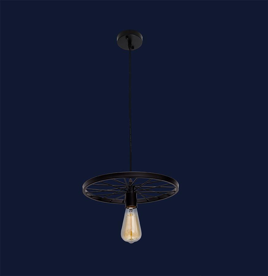 Подвесной светильник на одну лампу формы Колесо 746WXA012-1 BK