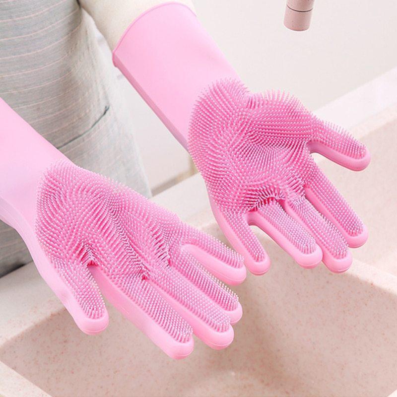 Силиконовые многофункциональные перчатки для мытья и чистки Magic Silicone Glov Розовый PR3