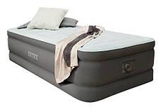 Односпальная надувная флокированная кровать Intex 64472, серая, со встроенным насосом 220V, 191 х 99