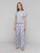 Комплект пижама женская с фламинго (штаны + футболка)