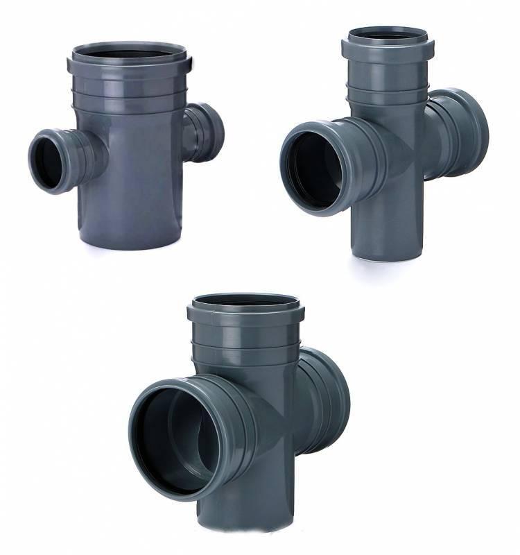 Крестовина для внутренней канализации Инсталпласт 110/110/50/90 левая (серая)