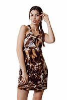 Платье летнее молодежное макрамэ, сарафан коричневый короткий с пышной юбкой, платье масло, фото 1