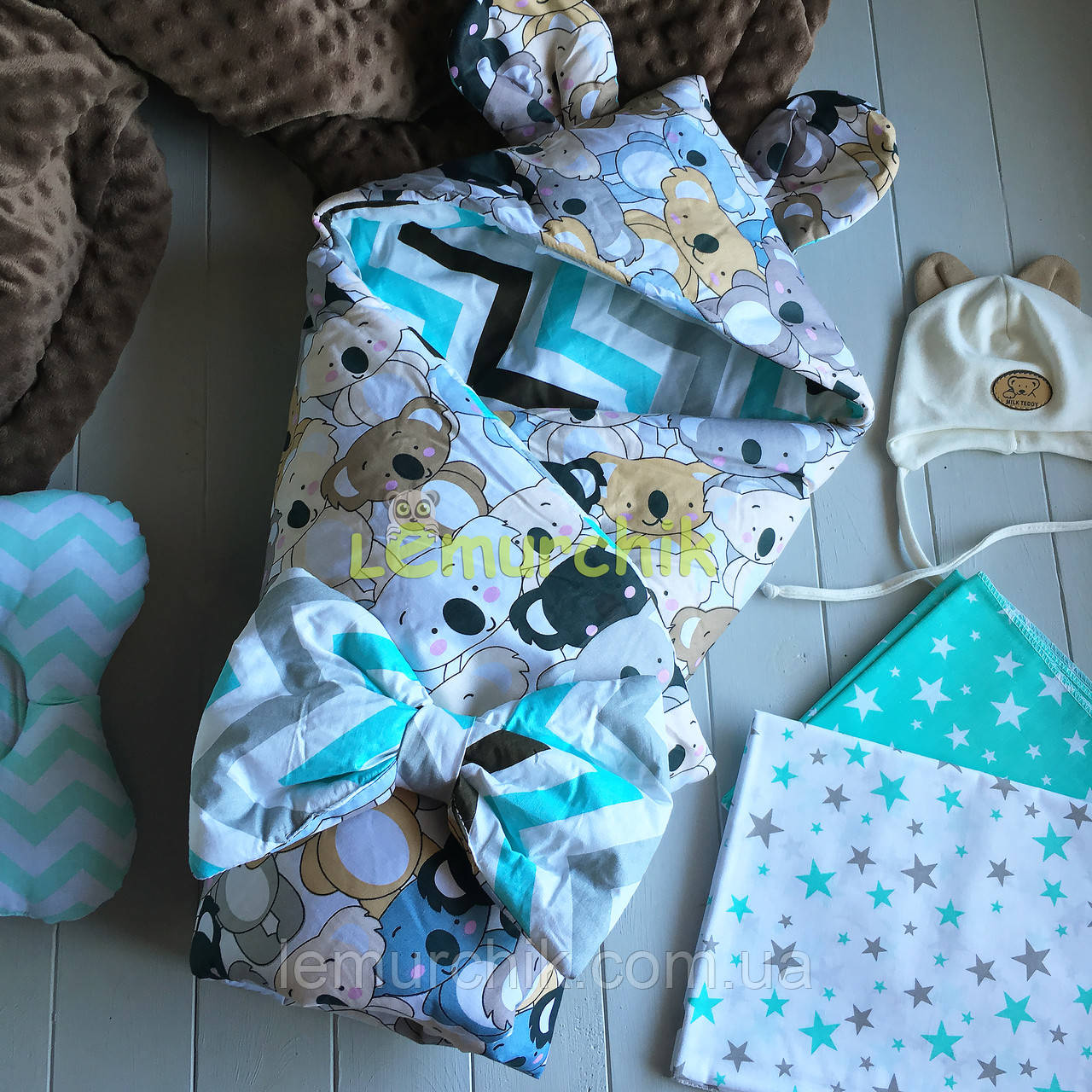 Конверт-одеяло с капюшоном и ушками, на синтепоне, Коалы