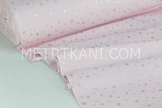 """Тканина ранфорс Туреччина 240 см """"Зорепад"""" (гліттер) срібло на світло-рожевому № WH-2998-1"""