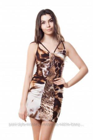 Плаття літнє вбрання з шкіряною аплікацією, плаття коричневого короткий молодіжне, плаття гарне