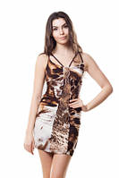 Платье летнее облегающее с кожаной аппликацией, платье коричнев короткое молодежное, платье красивое, фото 1