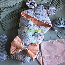 Конверт-одеяло с капюшоном и ушками, на синтепоне, Цветочки