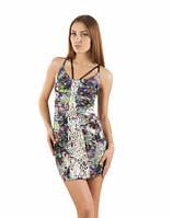 Платье летнее облегающее с кожаной аппликацией, платье цветное короткое молодежное, платье красивое, фото 1