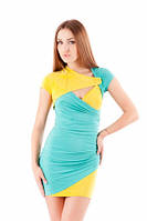 Платье летнее масло ткань, платье с декольте нарядное бирюзовое, красивое молодежное мини, фото 1