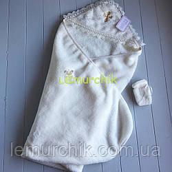 Крыжма крестильная с уголком для ребенка + мешочек для волос молочная