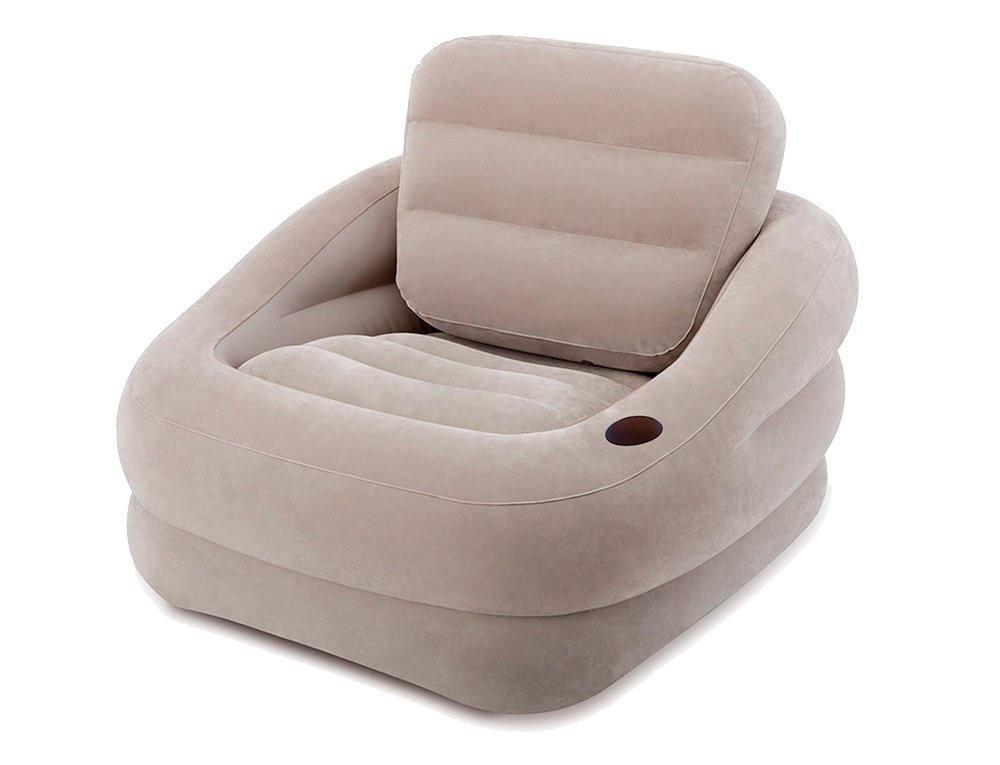 Надувное велюровое кресло Intex 68587, серое, 97 х 107 х 71 см