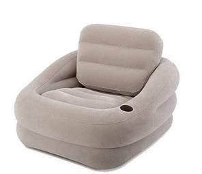 Надувное велюровое кресло Intex 68587, серое, 97 х 107 х 71 см , фото 2