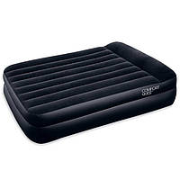 Двухспальная надувная флокированная кровать BestWay 67403 с подголовником, черная, 203 х 152 х 46 см