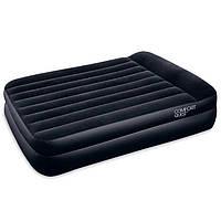 Двухспальная надувная флокированная кровать BestWay 67345 с подголовником, черная, 203 х 152 х 42 см