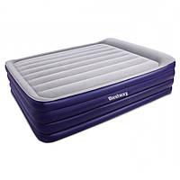 Надувная флокированная кровать Bestway 67528, серая, со встроенным насосом 220V, 203 х 152 х 56 см