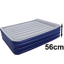 Надувная флокированная кровать Bestway 67528, серая, со встроенным насосом 220V, 203 х 152 х 56 см, фото 2
