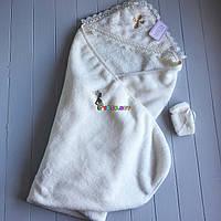 Крыжма крестильная с уголком для ребенка с мешочком для волос молочная