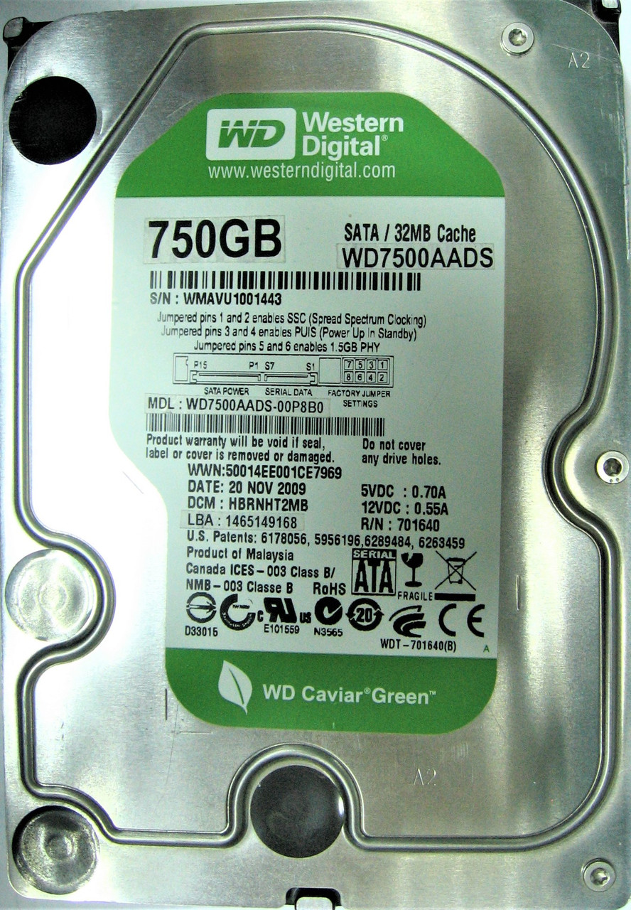 Жесткий диск HDD 750GB 32MB SATA II 3.5 WD Green WD7500AADS WMAVU1001443