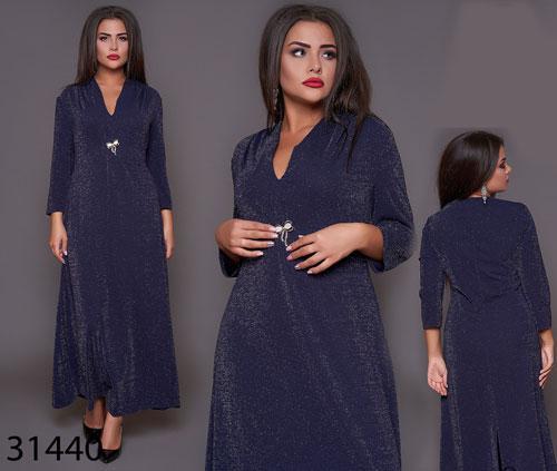 Длинное блестящее платье с напылением брошка в комплекте р. 50, 52, 54, 56