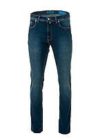 Мужские синие джинсы с потертостями и коричневой отстрочкой от Pierre Cardin