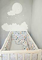 Плоские бортики на всю кровать 120*60см, простынь на резинке и валик под спинку малыша