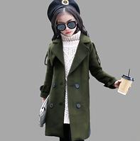 Шерстяне, модне пальто /Осенняя детская одежда для девочек, Зимние куртки для девочек длинные шерстяные пальта