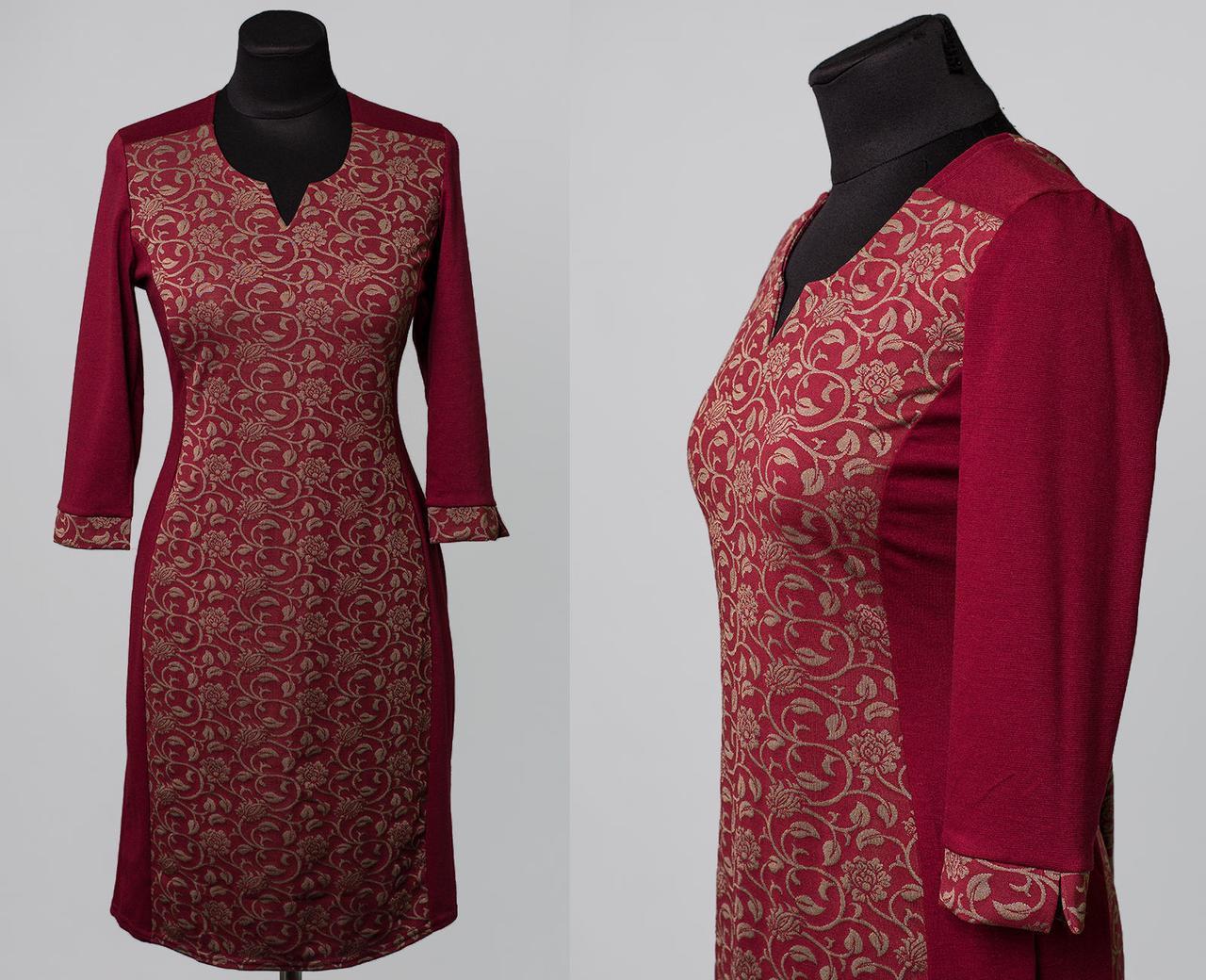 """Стильное женское платье ткань """"Французский трикотаж"""" 48, 50, 52, 54, 56 размер батал 48"""