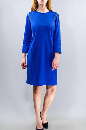 """Стильное женское платье ткань """"Французский трикотаж"""" на рукавах молнии 50 элект размер батал 48, фото 2"""