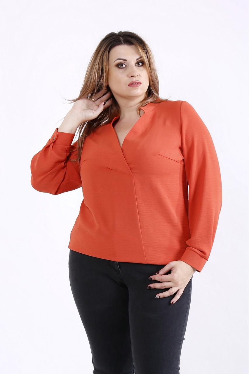 01258-1   Терракотовая блузка большго размера 42-74.