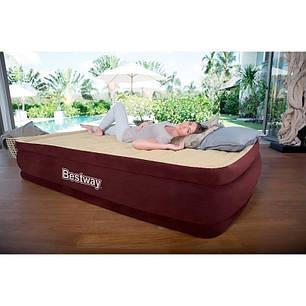 Двухспальная надувная флокированная кровать BestWay 67574 с подголовником, бордовая, 203 х 152 х 38 см, фото 2