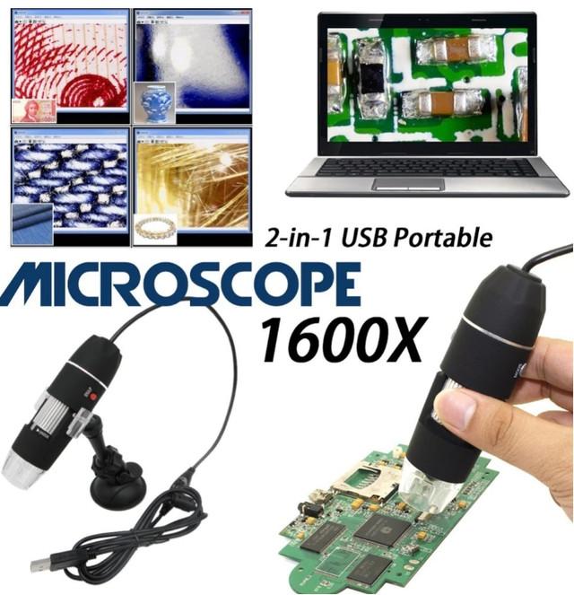 Цифровой USB микроскоп 1600Х на стойке с присоской. USB микроскоп для смартфона