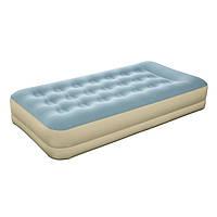 Односпальная надувная флокированная кровать Bestway 69001, бежево-голубая, со встроенным насосом 220V, 191 х 9