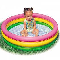 Детский надувной бассейн Intex 58924-1 «Радуга», с шариками 10 шт, 86 х 25 см , фото 3