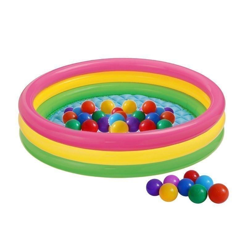 Детский надувной бассейн Intex 57422-1 «Цвета заката», с шариками 10 шт,147 х 33 см  Надувное дно